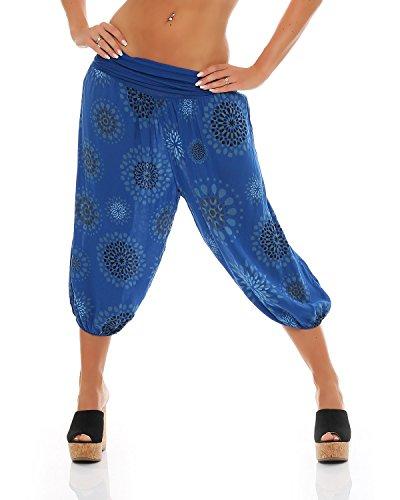 ZARMEXX Damen 3/4 Pumphose Capri Pluderhose im Harem-Stil kurze Sommerhose Yoga Aladinhose knielang (Einheitsgröße 36/38/40, blau)