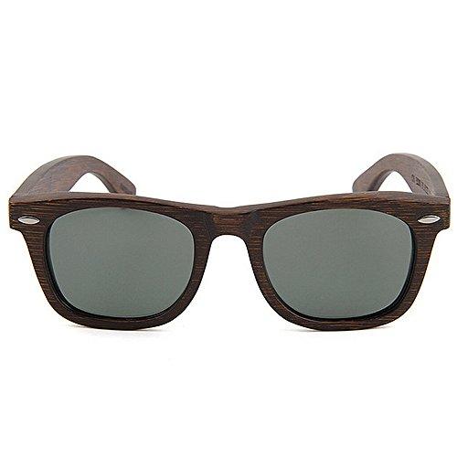 Sonnenbrillen Mode Herren Sonnenbrillen Vintage handgefertigte Bambus Sonnenbrillen dunkle Farbe polarisierte TAC Objektiv UV Schutz Fahren Urlaub Angeln Strand Sonnenbrillen ( Farbe : Braun )