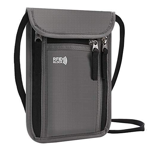 KEAFOLS Pochette Tour de Cou Sac de Cou Bloqueur RFID Anti-vol Sac de Passeport Imperméable Sac de Cou pour Documents (Gris)