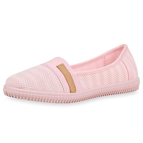 SCARPE VITA Damen Slip Ons Strick Slipper Bequeme Schuhe Profilsohle Ballerina Flats Freizeitschuhe 180950 Rosa Strick 38