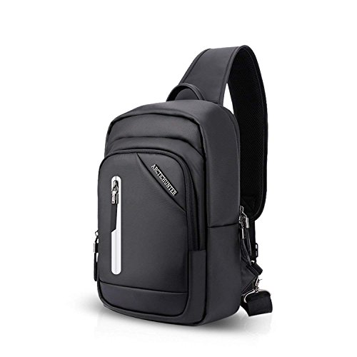 ZMLSXU Mode Sac à Bandoulière Messenger Bag Poitrine Sac Sports de Plein air Hommes et Femmes Bande Réfléchissante USB Port Sac à Dos Noir Bleu