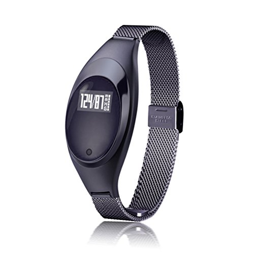 NICERIO Slim Touch Fitness Tracker Smart Watch Pulsmesser Sportuhr Wasserdicht Schrittzähler Monitor mit Herzfrequenz und Blut- Druck-Messer Smart Band Armband (Schwarz)