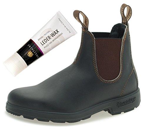 Blundstone Style 500 Classic Chelsea Boots UNISEX Stiefelette - Stout Brown + Lederwax (UK 09.0 / EU 43.0)