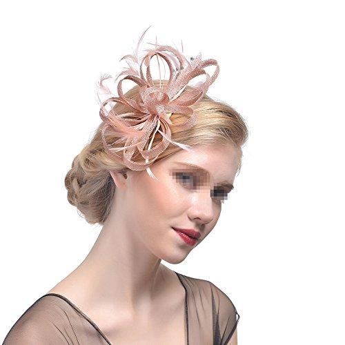 Damen Feder Haarschmuck,MoreChioce Frauen Fascinators Hut Haar Accessoire Blume Mesh Hair Clip Haarspangen Stirnbänder,Champagner Diamant,EINWEG (Stirnband Champagner)