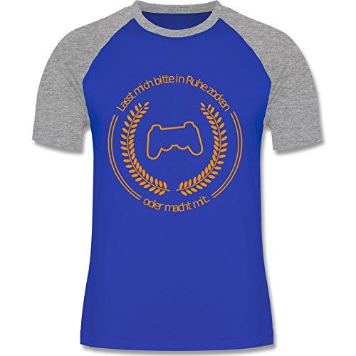 Nerds & Geeks - In Ruhe Zocken - zweifarbiges Baseballshirt für Männer Royalblau/Grau meliert