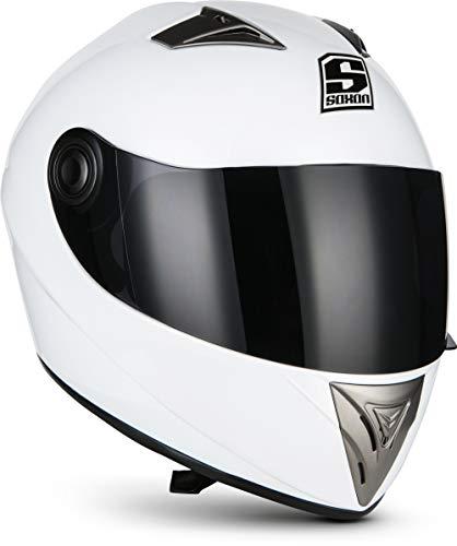 "Soxon® ST-550 \""Snow\"" · Integral-Helm · Full-Face Motorrad-Helm Roller-Helm Scooter-Helm Cruiser Sturz-Helm Street-Fighter-Helm Sport Urban Helmet MTB · ECE Visier Schnellverschluss Tasche L (59-60cm)"
