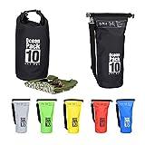 Relaxdays Ocean Pack 10 L, wasserdichter Dry Bag, ultraleichter Trockensack für Segeln, Rafting, Skifahren, schwarz