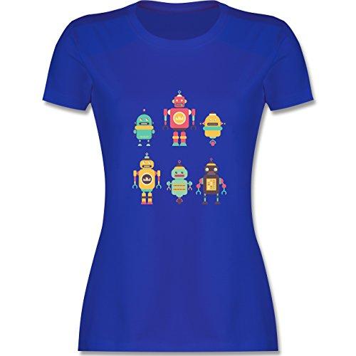 Nerds & Geeks - Bunte Roboter - tailliertes Premium T-Shirt mit Rundhalsausschnitt für Damen Royalblau