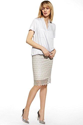 Ennywear 230075 Blouse Feminine Manches Courtes Business Look Top Qualité Col V Souple- Fabriqué En UE Gris
