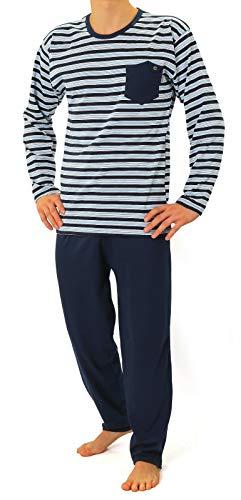 Sesto Senso® Pyjama Herren Lang Schlafanzüge 100% Baumwolle Langarm und Langehose Zweiteiliger Set Nachtwäsche (L, 02 K76) - Langarm Nachthemd Thermo