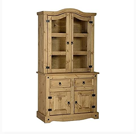 Solid Pine 3ft Buffet Hutch - Provides Closed And Open Storage Space And Three Thick Shelves - Distressed Waxed Pine