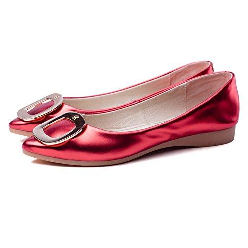 VogueZone009 Damen Spitz Zehe Ziehen Auf Ohne Absatz Rein Flache Schuhe Rot