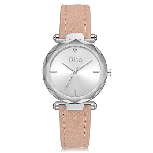 Uhren DELLIN Mode Frauen Retro Design Lederband Analog Alloy Quarz-Armbanduhr (Beige)