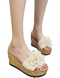 ZARLLE Sandalias Mujeres Moda Verano Plano Talla grande Bohemia Plataforma Sandalias Mujer Summer floral Cuña Confort Peep Toe Tacón Zapatos Para Caminar Playa Sandalias del Verano