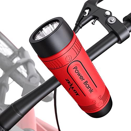Oferta de Altavoz Bluetooth con soporte para bicicleta, altavoz bluetooth inalámbrico 4000 mAh Powerbank, luz LED, autonomía de 24 horas, soporte AUX y SD, muy útil para paseos en bicicleta, color rojo