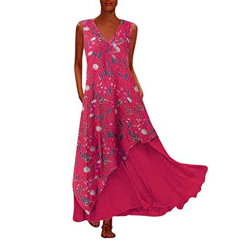 XZDCDJ Plus Size Damen Vintage O Neck Spleißen Floral Bedruckte Kurzarm Maxi-Kleid(L,Red) - Sexy Fishnet Suspender
