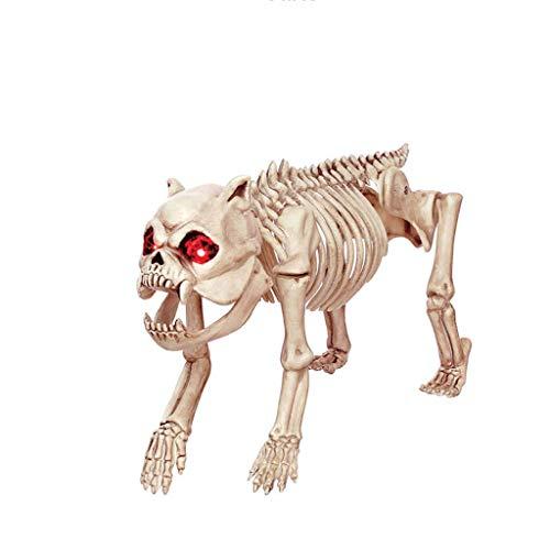 SLH Halloween Dekorationen Simulation Augen Shiny Dogs Skeleton Knochen Regal Haunted House Bar Einrichtung (Hund Skelett Halloween Dekoration)