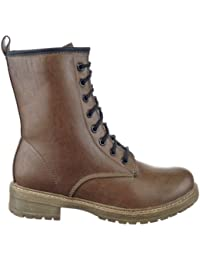 Sopily - Zapatillas de Moda Botines Botas militares Media pierna mujer Talón Tacón ancho 3.5 CM - plantilla textil - Caqui