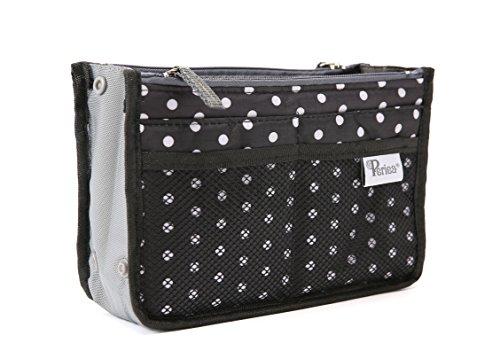 Periea Handtaschen-Organiser Geldbeutel-Einsatz 12 Fächer - Chelsy (Schwarz/Weiß, S) (Schwarze Handtasche Organizer)