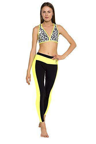glidesoul Damen 0,5mm Yoga Bikini Mehrfarbig - Leopard/Lemon