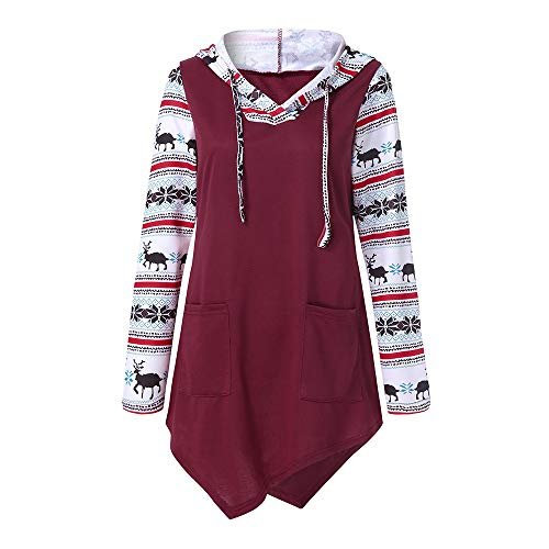 TIFIY Weihnachten Kapuzenpullover Damen,Frauen Hirsch Elch Pullover Lange Asymmetrisch Oberteile Herbst Winter Lässige Jumper Sweatshirt (Wein,EU-40/CN-XL)