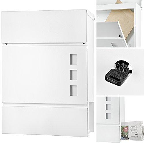 Melko Design Briefkasten mit Zeitungsfach aus poliertem Edelstahl, 37 x 11 x 36,5 cm, Weiß