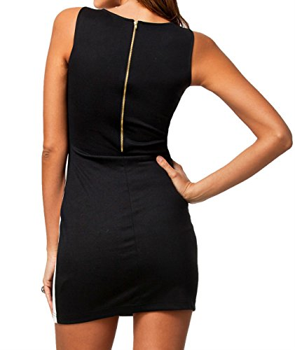 Dissa® Modisches Ärmelloses Weißes gepatcht Seiten Schwarz Mini Kleid.,Mehrfarbig Mehrfarbig