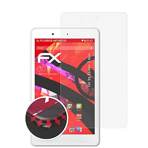 atFolix Schutzfolie passend für bq Edison 3 Mini Folie, entspiegelnde & Flexible FX Bildschirmschutzfolie (2X)