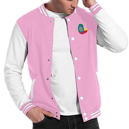 Love Lambert Stilvolle Unisex Baseballuniform Jacke Sport Mantel Flagge von Äthiopien Herren Damen Erwachsenen Sweatshirt Outwear (Olive Pea Coat Green)