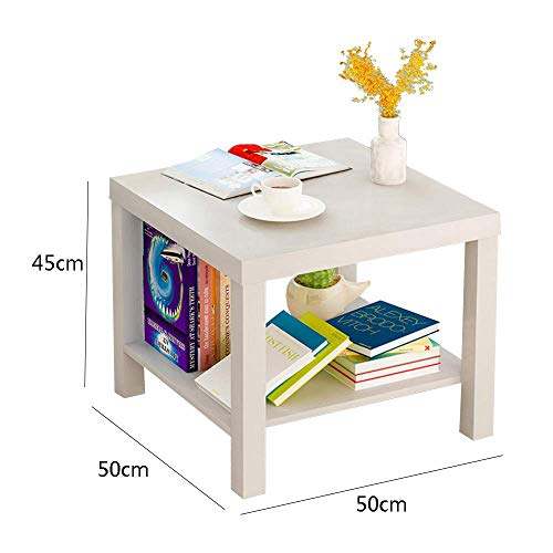YueQiSong Modern Minimalist Living Room Sofa Side Table Small Coffee Table Living Room Dining Room Small Table, White, 50 * 50 * 45cm