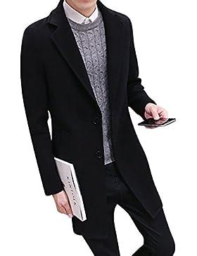 Hombres Slim Elegante Manga Larga Trench Coat Larga Parka Abrigo