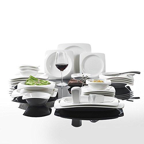 Malacasa Serie Rosana, 28-teilig Kombiservice Porzellan Geschirrset mit je 6 Schalen, 6 Dessertteller, 6 Suppenteller, 6 Speiseteller, 2 Rechteckige Platten und 2 Salz-und Pfefferdosen CREMEWEIß, Weiß Rechteckige Platte