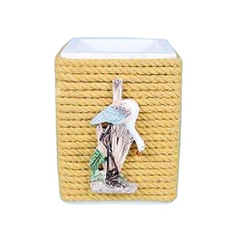 Mittelmeer-Stil Pen Pot Seil Dekoration aus Holz Büro-Feder-Halter-Tabellen-A1