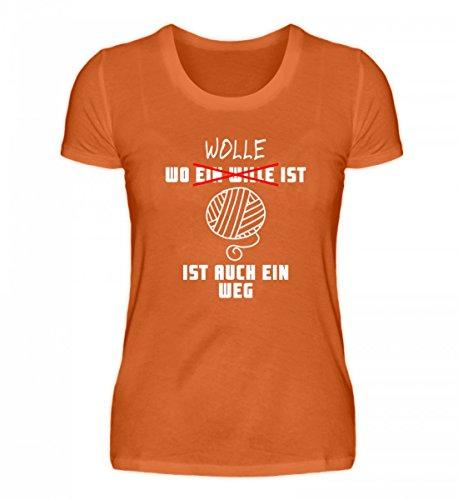 Shirtee Hochwertiges Damen Premiumshirt - Wo Wolle ist, ist ein Weg Dunkelorange