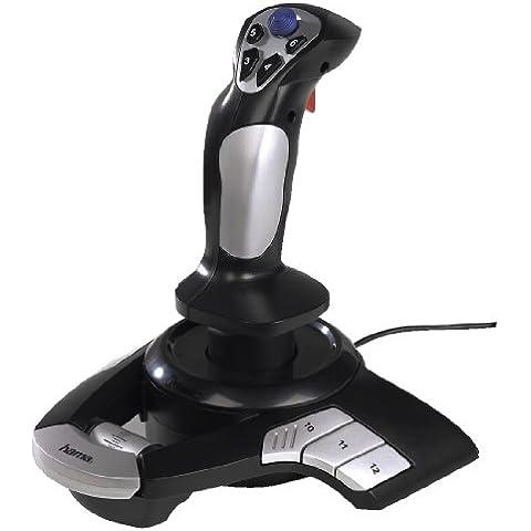 Hama Outlandish - Joystick para PC con vibración (12 botones, USB 2.0), color negro y gris