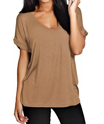 fashion-1st-t-shirt-manches-courtes-femme-camel-beige