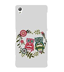 FUSON Illustration Of Couple Owl 3D Hard Polycarbonate Designer Back Case Cover for Sony Xperia Z3+ :: Sony Xperia Z3 Plus :: Sony Xperia Z3+ dual :: Sony Xperia Z3 Plus E6533 E6553 :: Sony Xperia Z4
