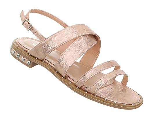 Damen Schuhe Sandalen | Riemchensandale Sommer | Strandschuhe Sling | Badelatschen Baggerloch | Plateau Sandaletten | Gold Rosa 40