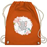 Tiermotive Kind - Elefant mit Blumenkranz - Unisize - Orange - WM110 - Turnbeutel & Gym Bag