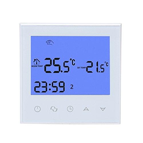 Termostato Programable wifi de calefacción eléctrica, Inteligente de LCD Pantalla Táctil, 16A 230V Remoto de 7 días Iluminar desde el fondo blanco