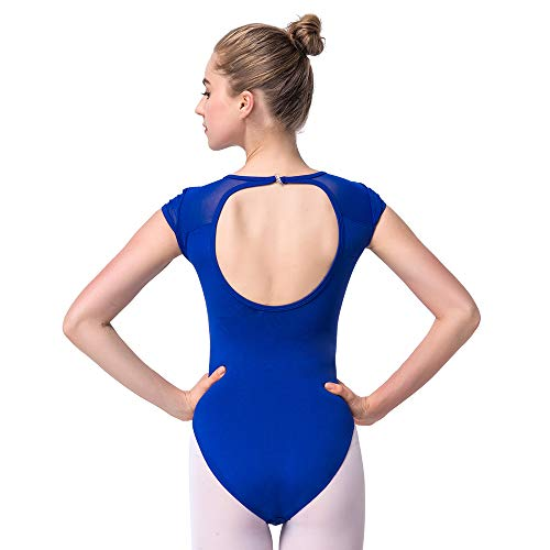Bezioner Ballett Trikot Turnanzug Rückenfrei Gymnastikanzug Mesh Tanzbody Tanztrikot für Mädchen und Damen Blau L - Damen-tanz-trikot Pink