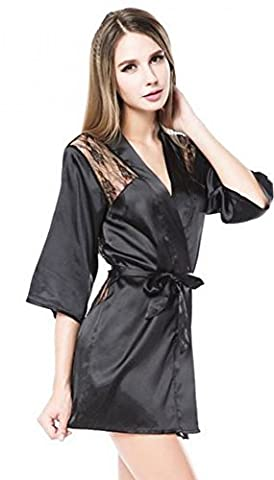 DP Design® Mini Kimono Dressing Gown Night In Satin Sexy Lingerie Baby Doll Babydoll With (Perizoma Babydoll)
