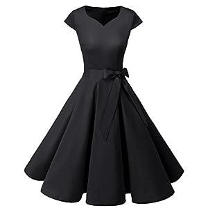 Dresstells Damen Vintage 50er Cap Sleeves Rockabilly Retro Kleider Hepburn Stil Partykleid