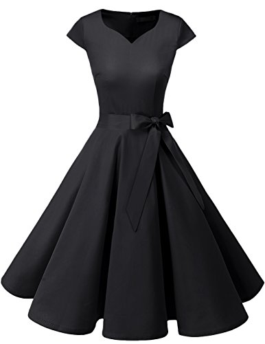 Dresstells Dresstells Vintage 50er Swing Party kleider Cap Sleeves Rockabilly Retro Hepburn Cocktailkleider Black XS