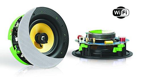 WiFi + LAN (+W-Lan) decke Lautsprecher-Set (Airplay + DLNA) (230 MM) Weiß, 60 Watt (230V / 12V) + AUX, LAN / WLAN