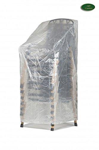 Mehr Garten Klassik Schutzhülle für Stapelstühle/Gartenstühle aus PE-Bändchengewebe - transparent Größe XL