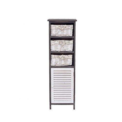 Mobili rebecca® cassettiera mobile bagno 3 cassetti 1 anta legno vimini bianco grigio vintage country lavanderia camera (cod. re4188)