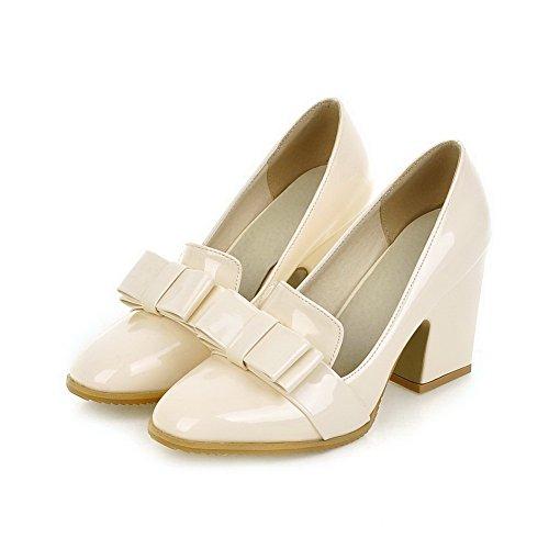 VogueZone009 Femme Carré à Talon Haut Verni Couleur Unie Tire Chaussures Légeres Beige