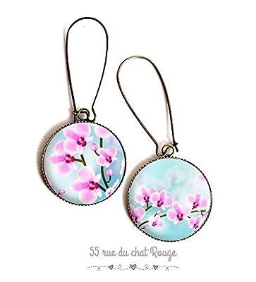 Boucles d'oreilles cabochon, fleurs Orchidée, asymétrique, rose et bleu, romantique