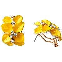 Navachi 18k Gold Plated Crystal Yellow Enamel Leaves Flower Az2862e Omega Earrings r1ghhHeaGr